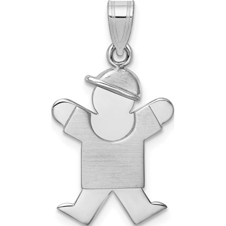 14k White Gold Small Boy w/Hat on Right Engravable (15x25mm) Pendant / Charm - image 2 of 2