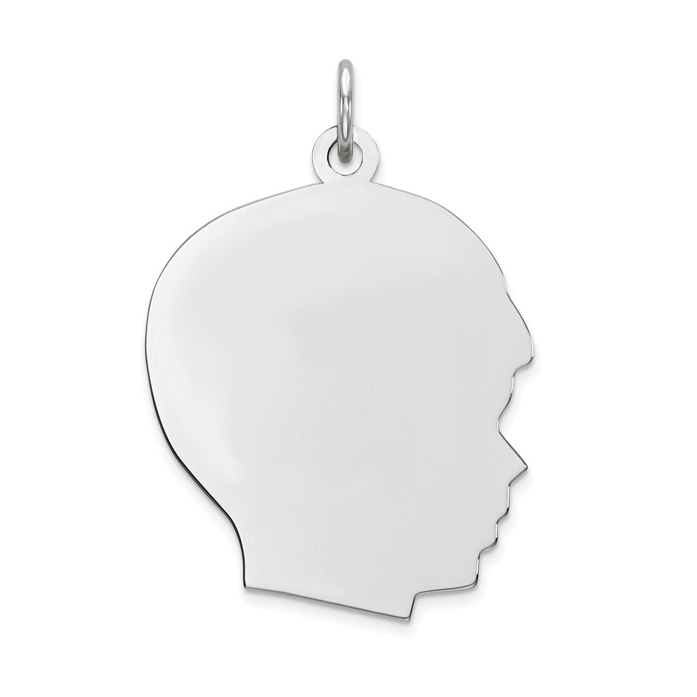 14k White Gold Plain Large Facing Right Engravable Boy Charm Pendant
