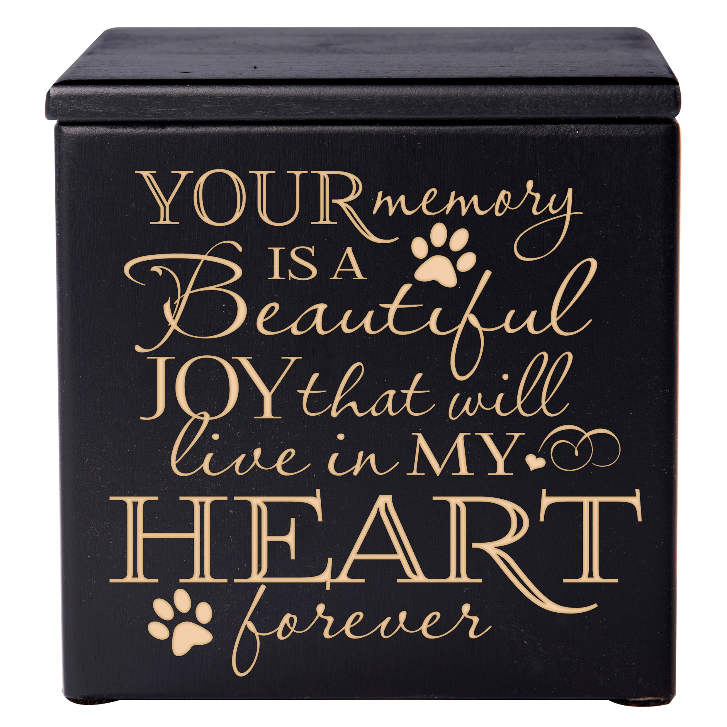 Pet Cremation Urn - Your Memory is a Beautiful Joy That Will Live in My Heart Forever - Small (Black)