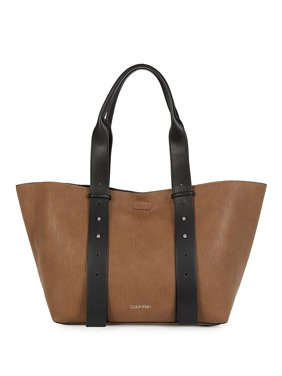 Calvin Klein Jane Bubble Lamb East/West Handbag Tote (Luggage/Black)