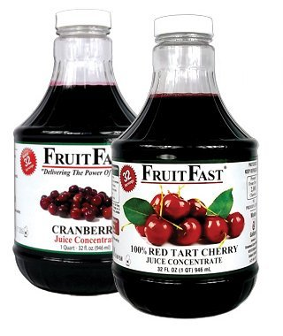"""1 QUART Tart Cherry & 1 QUART Cranberry """"Cold Filled"""" Juice Concentrates by Brownwood Acres Foods"""