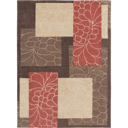 Surya Cosmopolitan 9' x 13' Hand Tufted Rug in Brown and Red