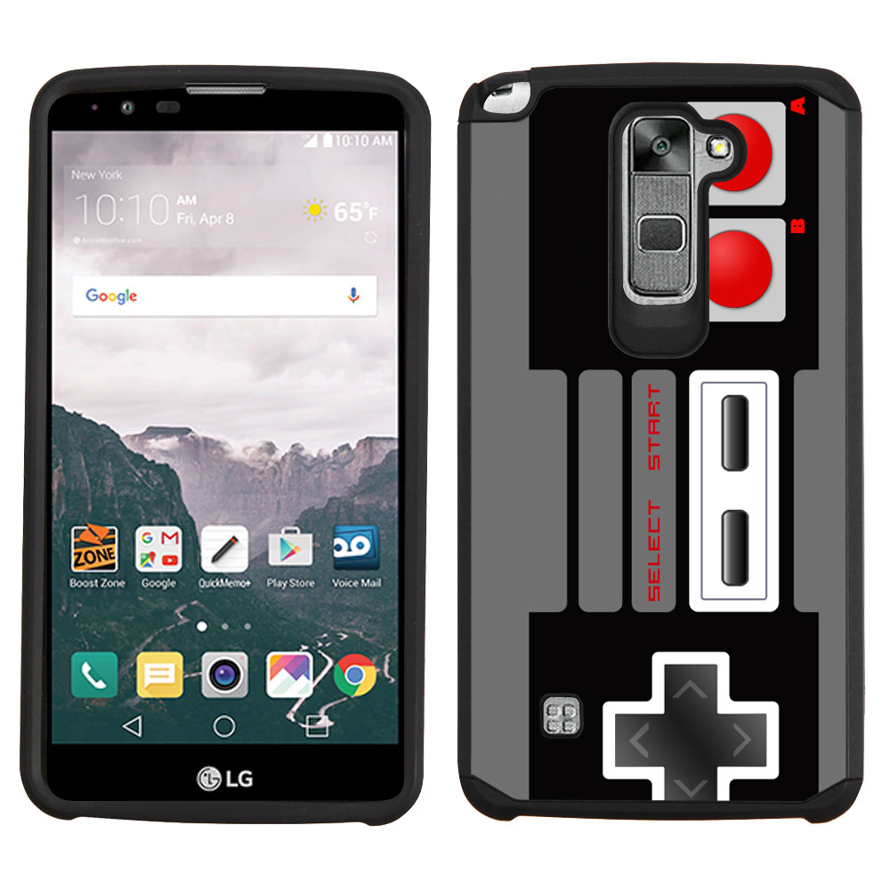 One Tough Shield ® Dual Layer Hybrid Bumper Phone Case (Black/Black) for LG Stylo 2 PLUS - Game Controller