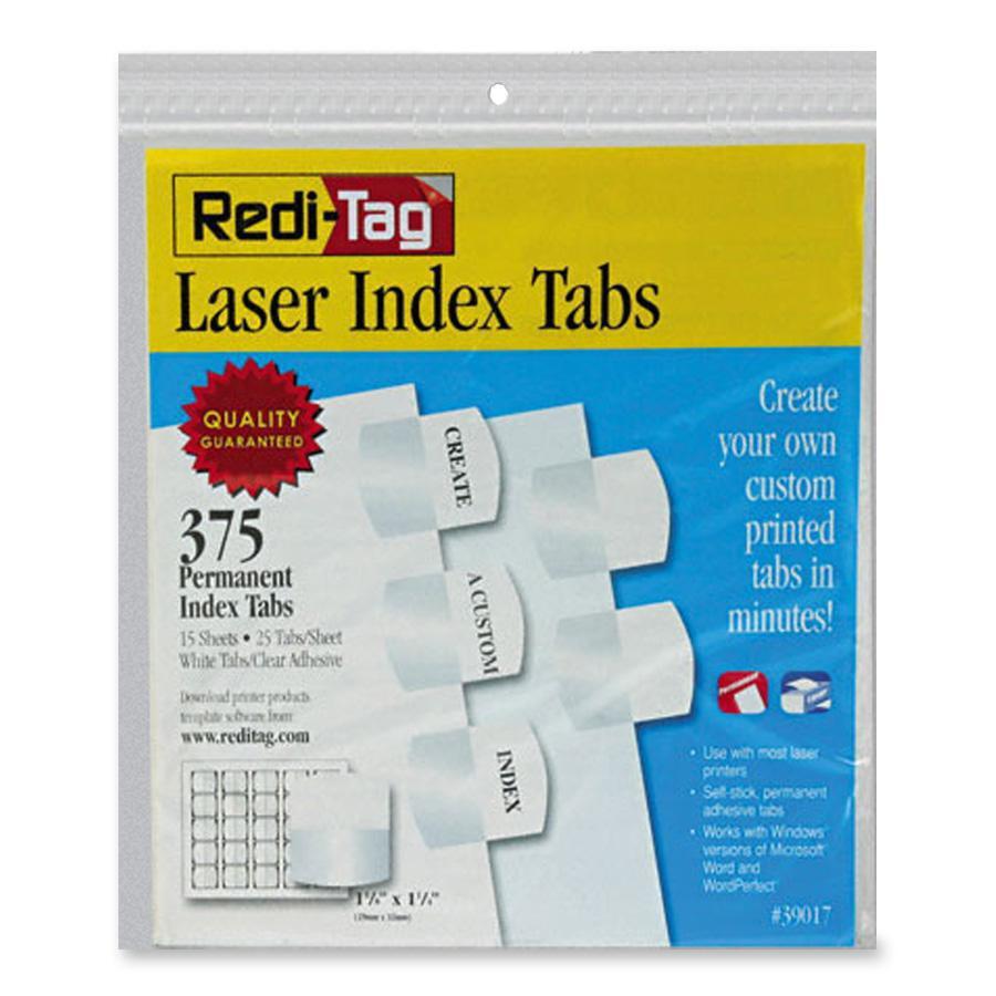 Redi-Tag, RTG39017, Laser Printable Index Tabs, 375 / Pack