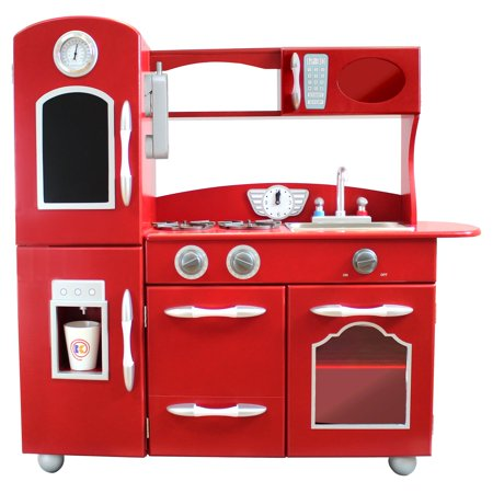 Teamson Kids Retro Wooden Play Kitchen with Refrigerator, Freezer, Oven and Dishwasher,