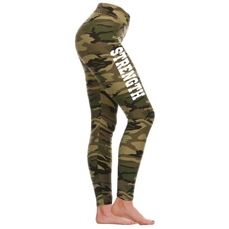 Junior's Varsity Strength V656 Camo Athletic Workout Leggings Thights One Size