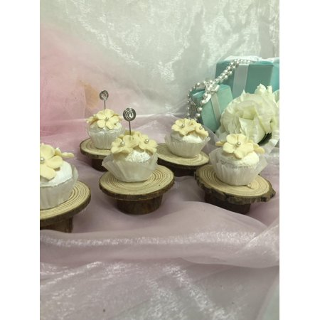 Charmed Mini Pine Wood Rustic Cake Cupcake Stand Wedding party shower; Set of 6; 2.5