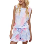Womens Tie Dye Printed Pajama Leopard Set Shorts Nightwear Pyjama Lounge Wear