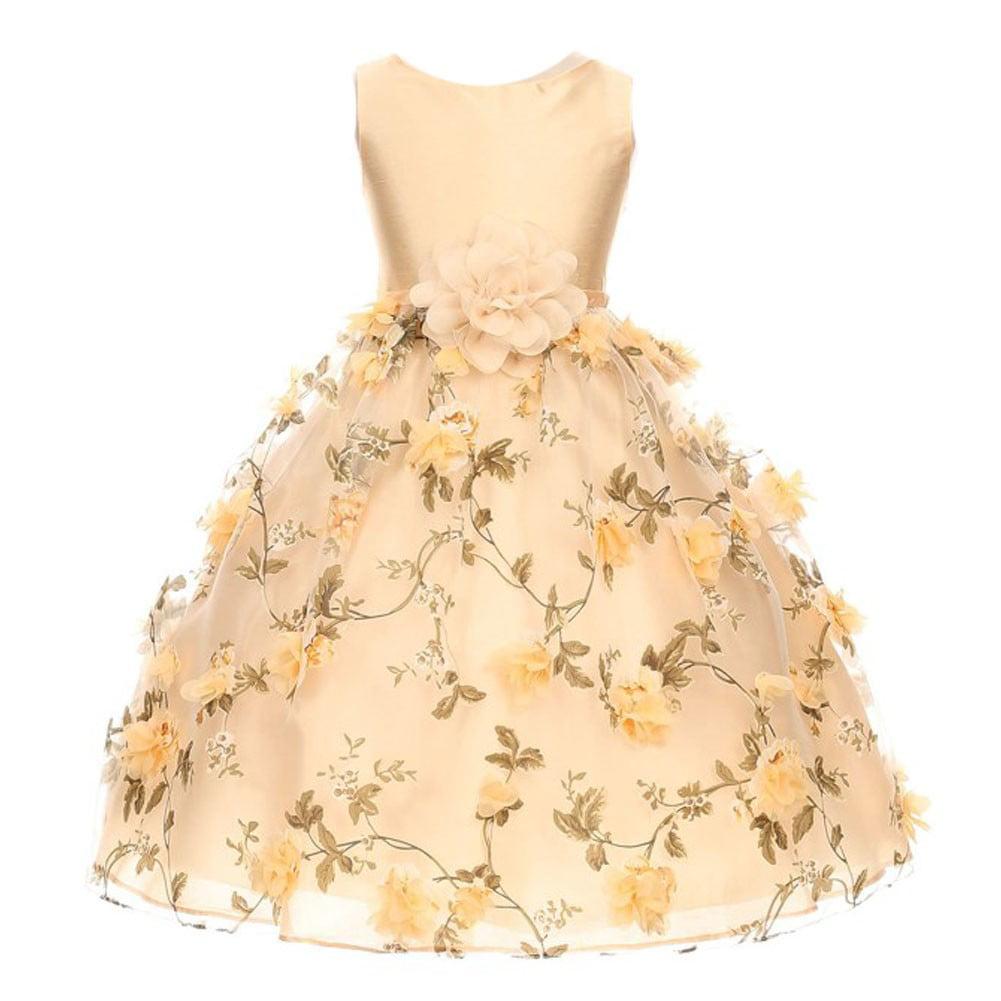 Girls Champagne 3D Floral Print Sleeveless Junior Bridesmaid Dress 8-12