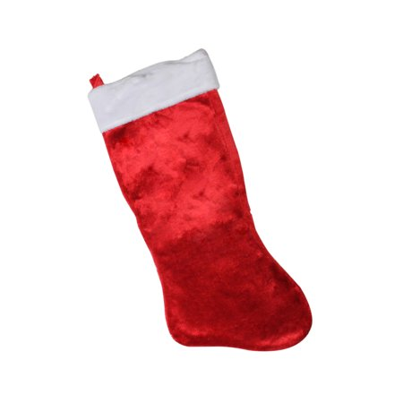 "35"" Giant Red Plush Classic Christmas Stocking with White Fold Over Cuff ()"