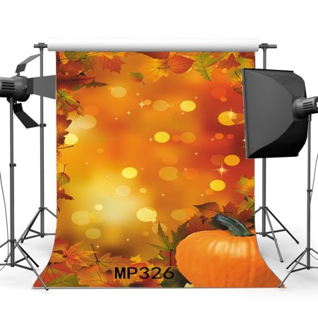 MOHome Polyster 5x7ft Photography Backgrounds Bokeh Halos Halloween Trick or Treat Fall Leaves Pumpkin Nature Autumn Harvest Scene Children Adults Masquerade Photo Backdrop Studio Props