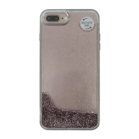 buy popular 8ffa5 927f8 Onn Lightweight Slim Clear Case For iPhone 7 Plus/8 Plus, Rose Gold Glitter