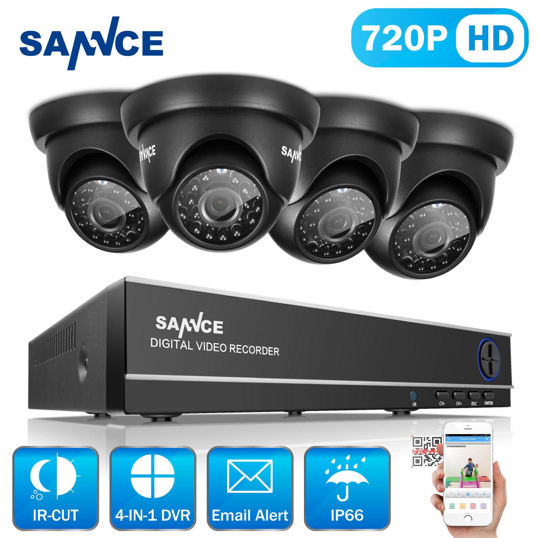 SANNCE 8CH 1080N HD CCTV System 4pcs 720P Outdoor IR Security Camera 4 Channels video Surveillance DVR kits(0-NO HDD,1-1TB HDD)
