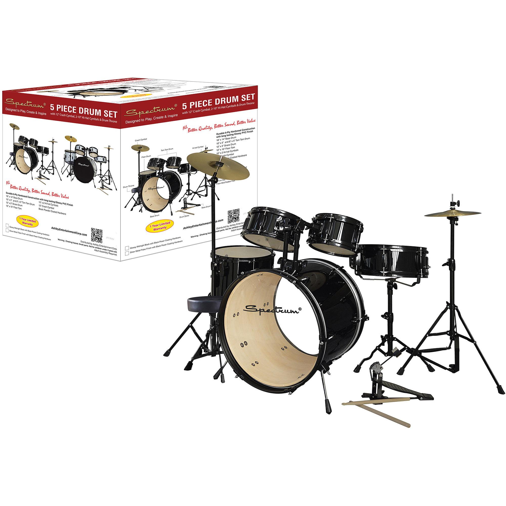 Spectrum AIL 672BK 5-Piece Complete Drum Set with Bonus 250-Pound Capacity Drum Stool, Black