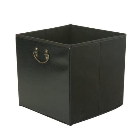 Faux Leather Storage Cube W/ Metal Handle 13X13X13 ()