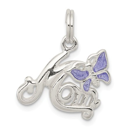 Enamel Butterfly Charm - Roy Rose Jewelry Sterling Silver Polished Mom Butterfly Enameled Charm