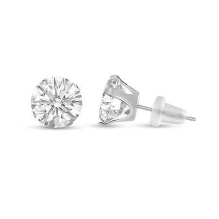 Round 10mm 10k White Gold White CZ Stud Earrings, April Birthstone, (13.16 cttw)