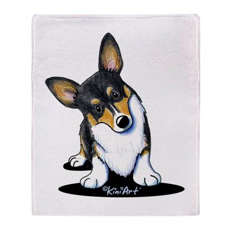 "CafePress - Kiniart Tricolor Corgi - Soft Fleece Throw Blanket, 50""x60"" Stadium Blanket"