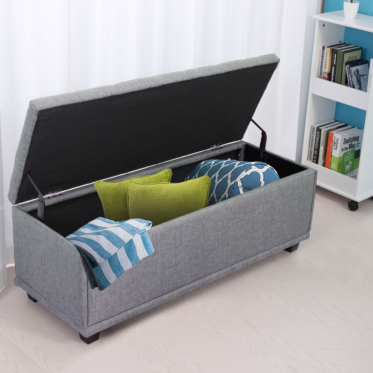 Storage Living Room Furniture: Gray Storage Ottoman Bench Fabric Furniture Foot Stool