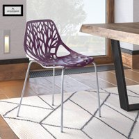 LeisureMod  Asbury Purple Open Back Chrome Dining Side Chair