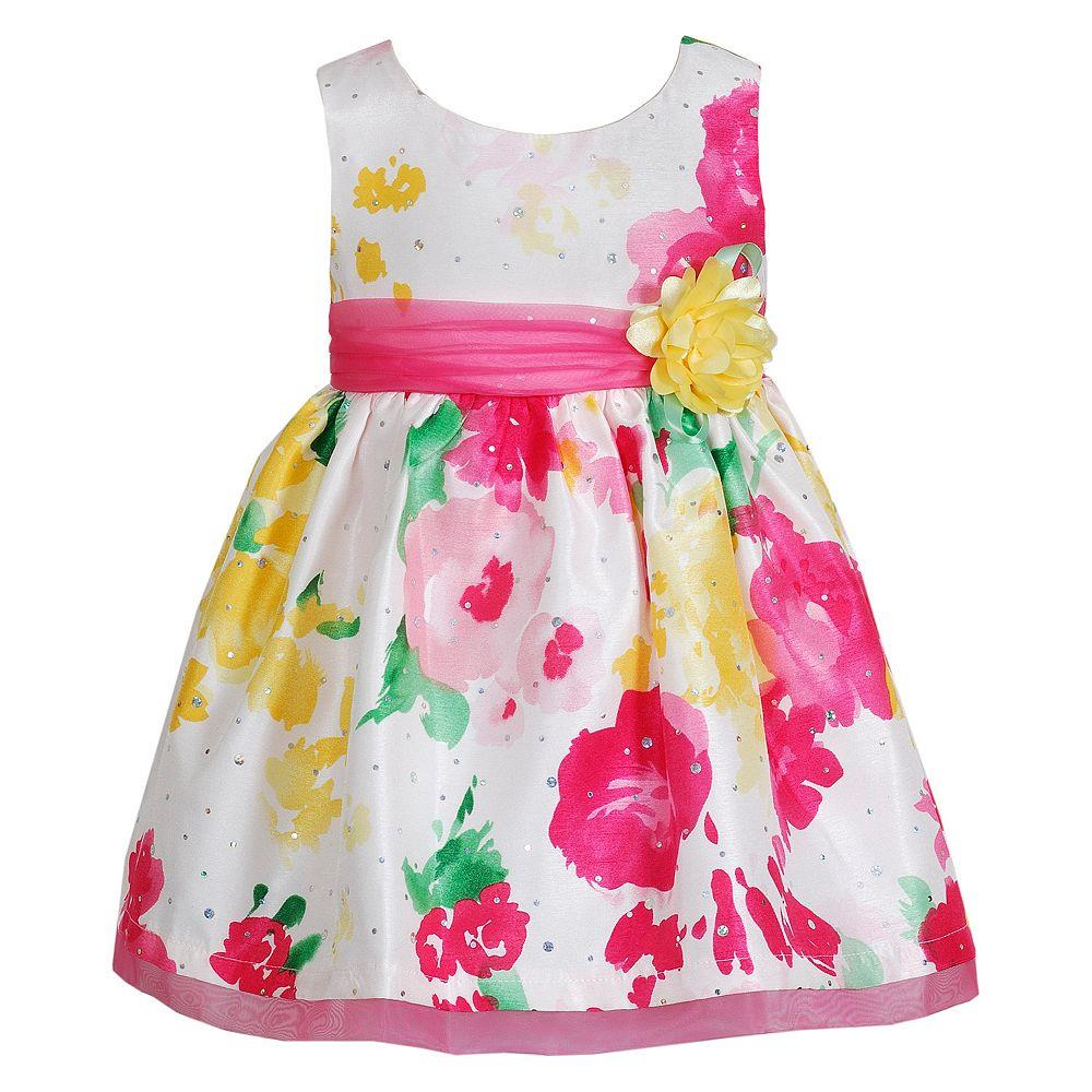 Youngland Girls 2t 4t Sleeveless Floral Sash Dress Pink 2t