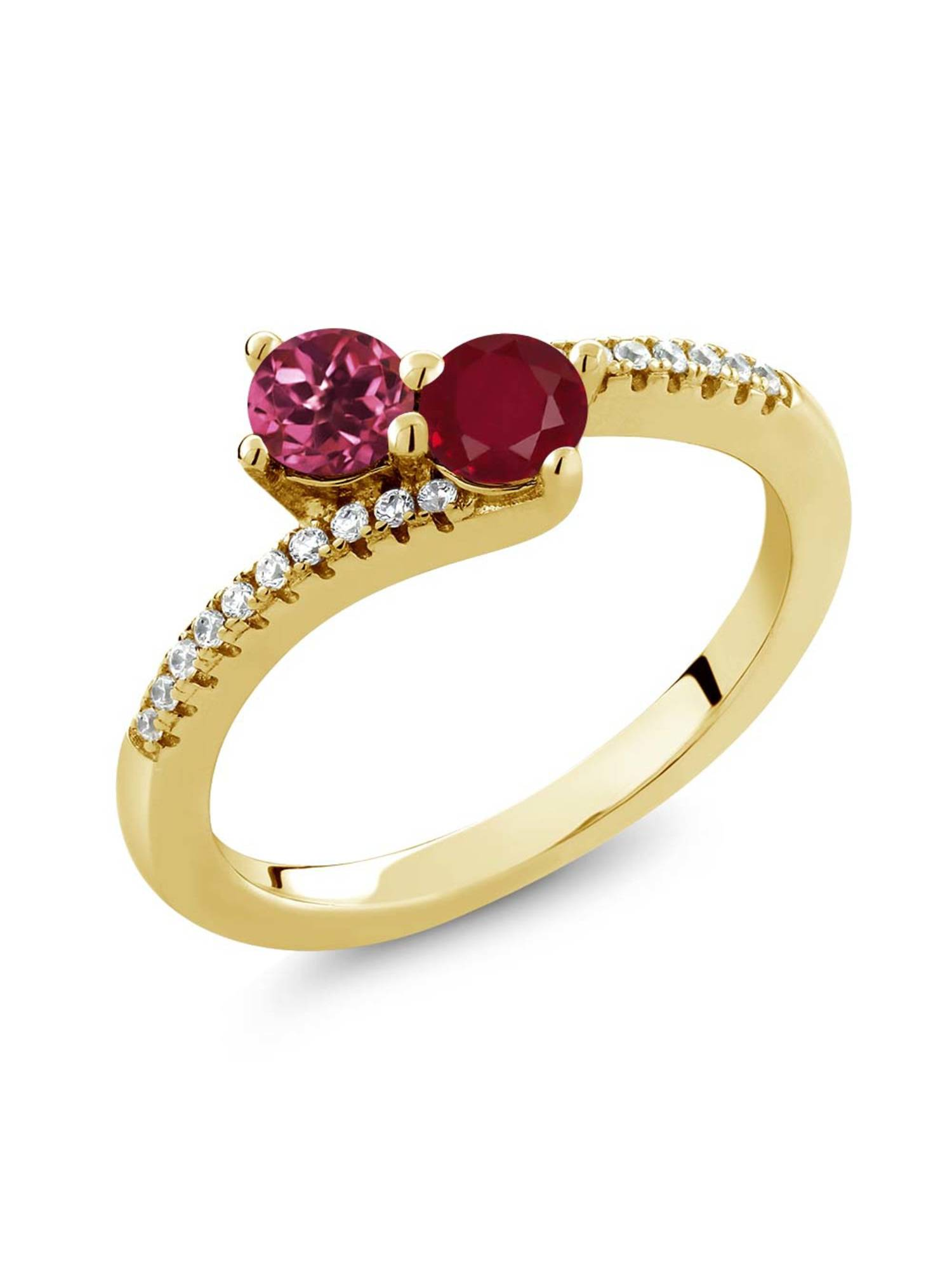0.78 Ct Pink Tourmaline Red Ruby Two Stone 18K Yellow Gold Plated Silver Ring by