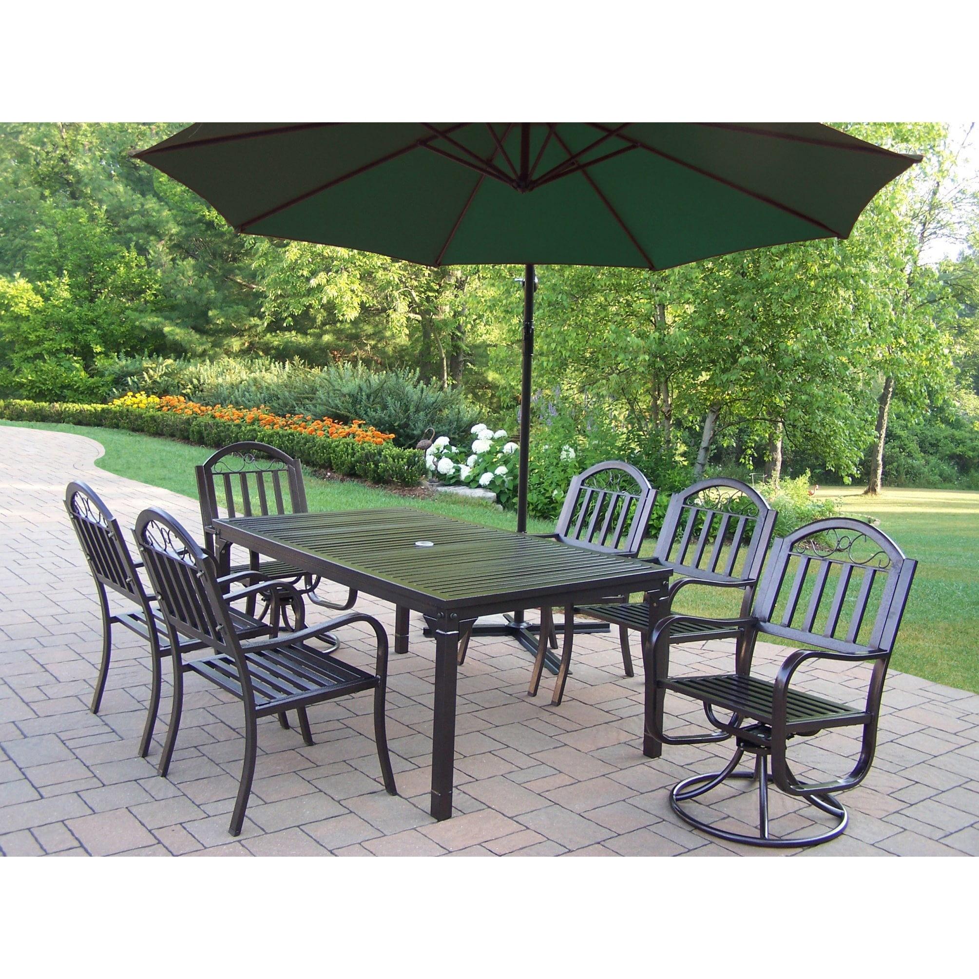 Oakland Living Corporation 8 Pc Dining Set with Table, 4 Chairs, 2 Swivels, Umbrella and Base