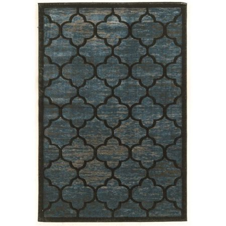 Linon Platinum Trellis 8' x 11' Rug in Blue Gray