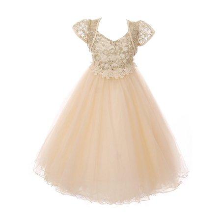 Chic Baby Little Girls Gold Beaded Applique Shimmery Flower Girl Dress