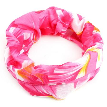 Spandex Floral Pattern Stretchy Scarf Neck Wrap Gaiter Tube Headband Face Mask (Head Tube Gaiter)