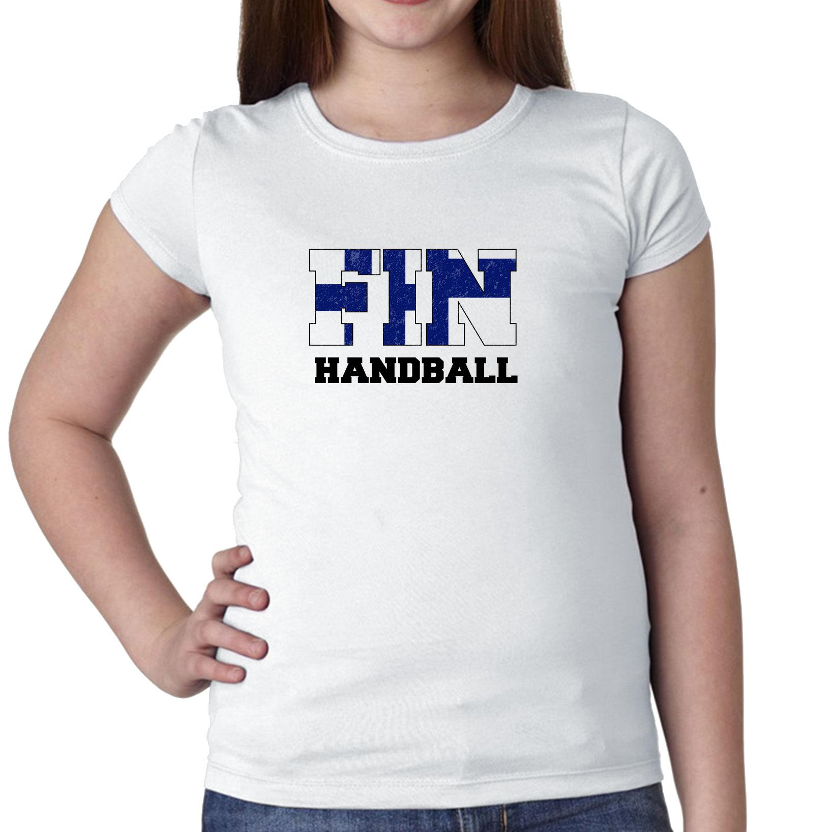 Finland Handball Olympic Games Rio Flag Girl's Cotton Youth T-Shirt by Hollywood Thread