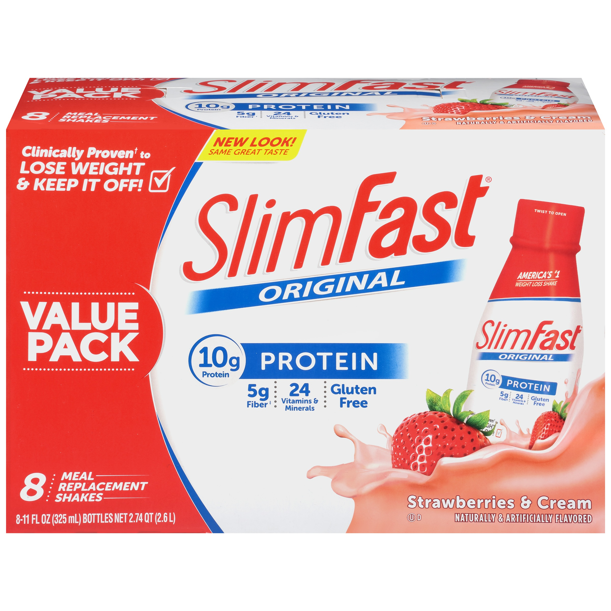 SlimFast Original Meal Replacement Shakes, Strawberries and Cream, 11 Fl oz, 8 Ct