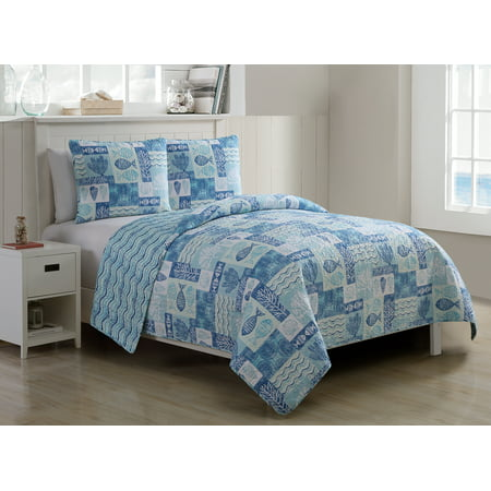 VCNY Home Blue Patchwork Sealife 3 Piece Pinsonic Reversible Bedding Quilt Set, Shams Included