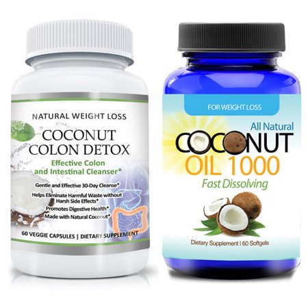 totally products Gentle Coconut Colon Detox Cleanse Supplement and Organic Virgin Coconut Oil 2-piece Set (60 Capsules