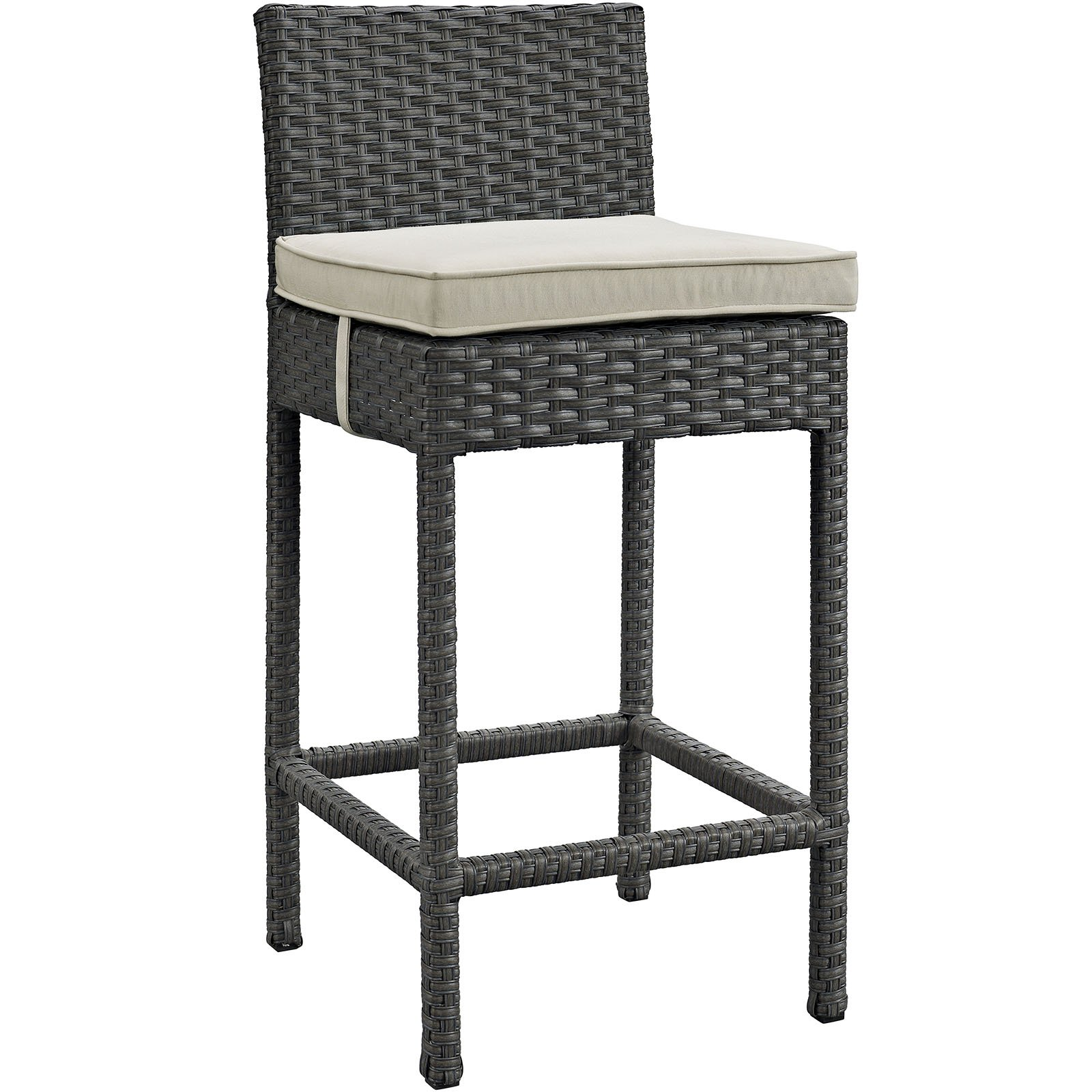Modway Sojourn Outdoor Patio Wicker Sunbrella Bar Stool, Multiple Colors