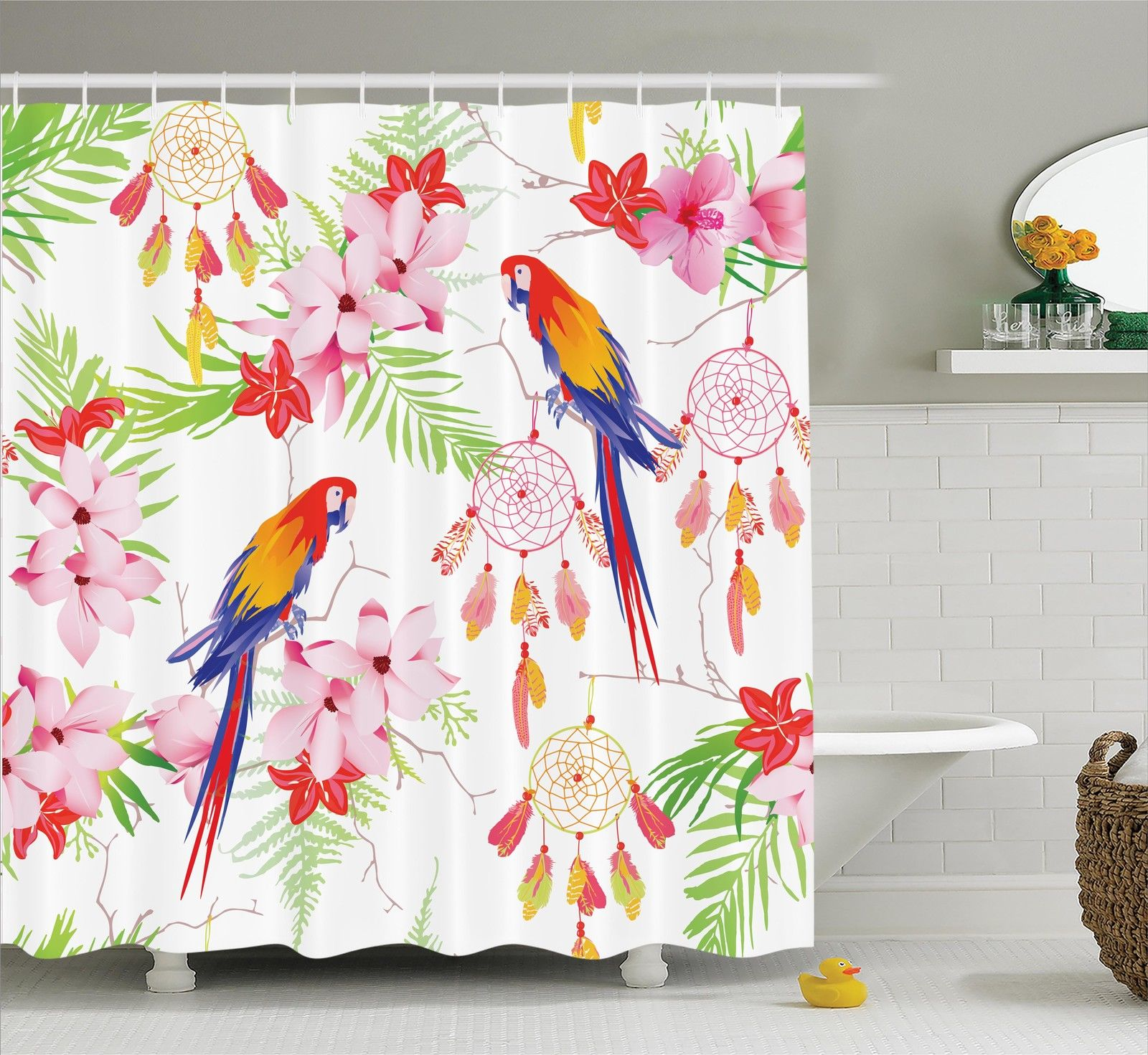 Parrots Decor  The Forest With Parrots And Native Indian ...