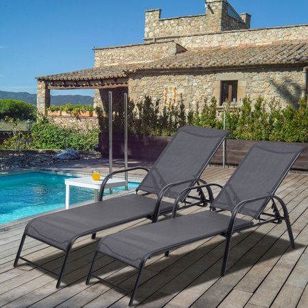 Set of 2 Patio Lounge Chairs Sling Chaise Lounges Recliner Adjustable Back - image 3 of 10