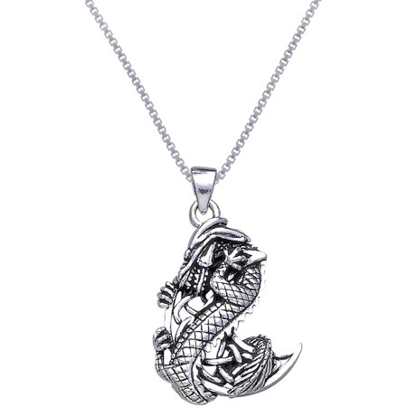 - Sterling Silver Dragon with Celtic Crescent Moon Pendant on 18 Inch Box Chain Necklace