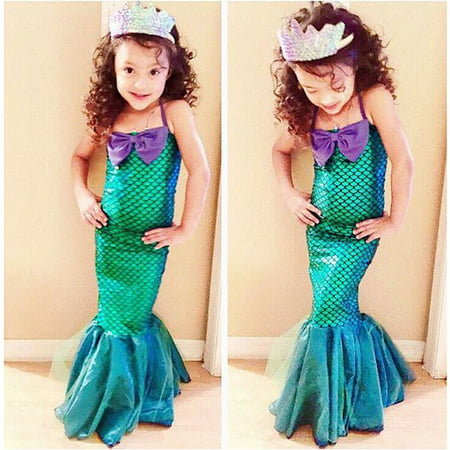 Marine Costume For Girls (Kids Ariel Sequin Little Mermaid Set Girls Princess Fancy Dress Up Party Costume 3-4)