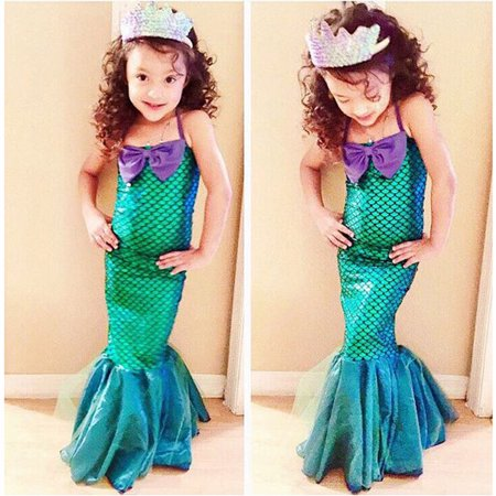 Dress Up As A Girl For Halloween (Kids Ariel Sequin Little Mermaid Set Girls Princess Fancy Dress Up Party Costume 3-4)