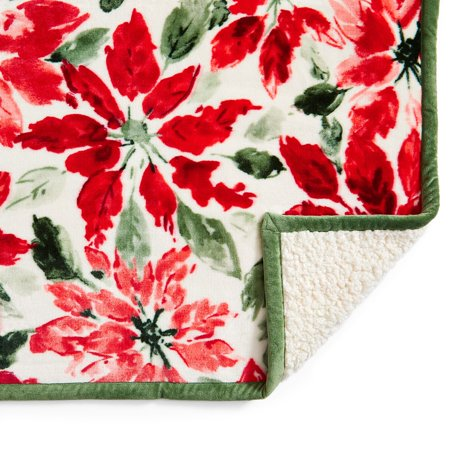 "Better Homes & Gardens Sherpa Throw Blanket, 50"" x 60"", Pointsettia"