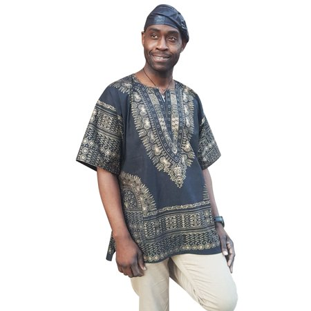 Black and Gold Traditional African Print Dashiki