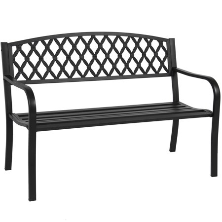 Best Choice Products 50in Steel Outdoor Park Bench Chair Yard Furniture w/ Cross Design Backrest, Slatted Seat for Backyard, Garden, Patio, Porch - Black