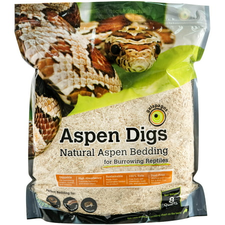 Reptile Bedding - Galapagos Aspen Digs, Natural, 8qt Stand-Up Pouch