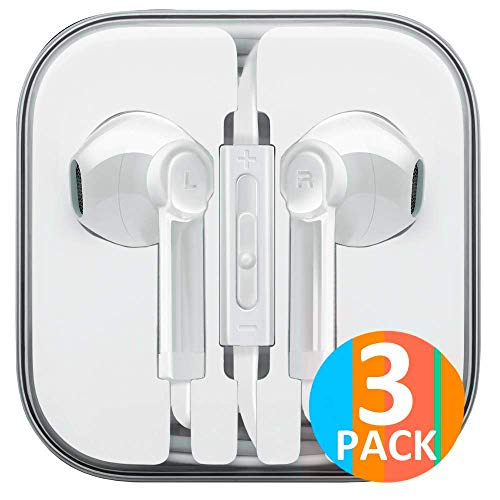 Headphones 3-Pack Earbuds Earphones to 3.5mm Compatible iPhone iPad iPod Stereo Earphone Wired Noise Isolating Mic Remote Control [White]