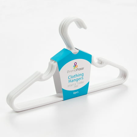 Primo Passi Infant & Toddler Clothing Hangers (Set of 6) - White Primo Passi Clothing Hangers are a convenient and stylish way to keep your child's closet neat and organized. Sized just right to fit infant and toddler clothing, these hangers are made with durable plastic and ultra-slim design to maximizes closet space. Package incluedes 6 hangers.