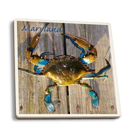 Blue Crab on Dock - Maryland - Lantern Press Photography (Set of 4 Ceramic Coasters - Cork-backed, Absorbent)