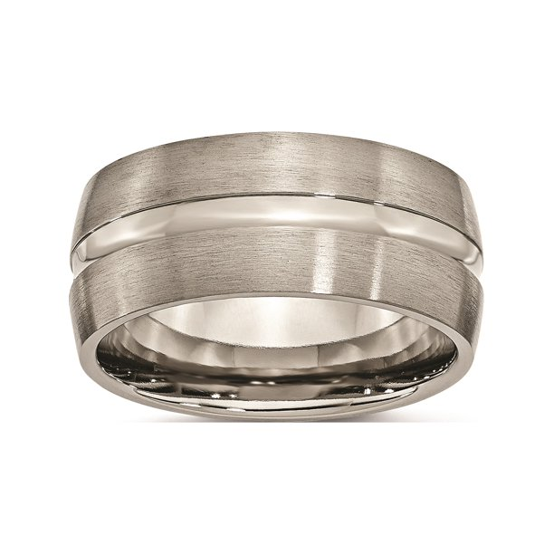 Designer Titanium Grooved 10Mm Brushed And Polished Band (Width=10.00) Made In China -Jewelry By Sweet Pea Creations
