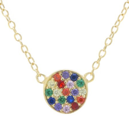 Fine Gold Plate Over Sterling Silver Rainbow CZ Disc Necklace 18 inches
