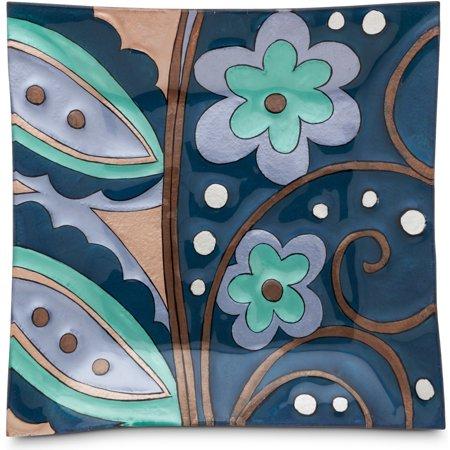 Blue Fused Glass - Pavilion- Square Blue Floral Fused Glass Plate 10x10